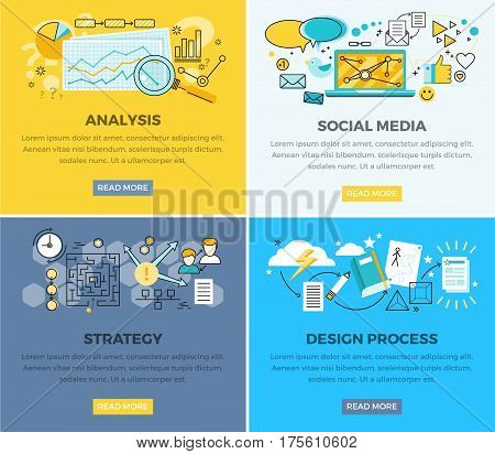 Social media analysis and design progress strategy vector web poster. Magnifying glass on paper with diagram, laptop and users signs around, strategy plan and process of creating new elements poster
