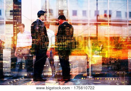 Two businessmen talking on the street. Multiple exposure image. Business concept illustration. London