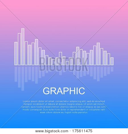 Graphic reflecting business column chart isolated with text underneath. Commercial presentation about progress and regression drawn in diagram. Vector illustration of variable diagram in flat style
