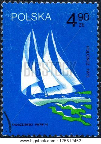 UKRAINE - CIRCA 2017: A stamp printed in Poland shows old sailing yacht Polonez 1973 circa 1974