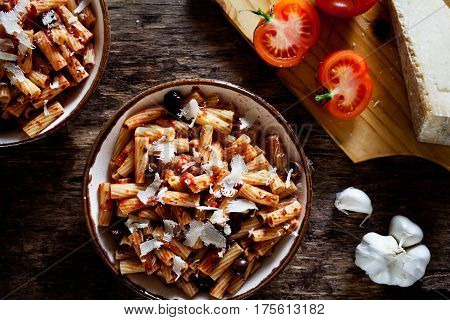 Pasta With Tomato Sauce And Olives
