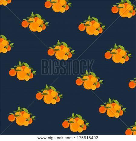Mandarin pattern. Vector illustration on black background
