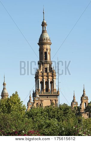Sevilla (Andalucia Spain): the square known as Plaza de Espana: tower