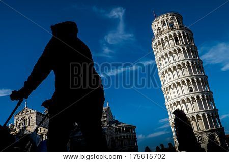 Pisa, Italy, February 26, 2017: The Leaning Tower Of Pisa
