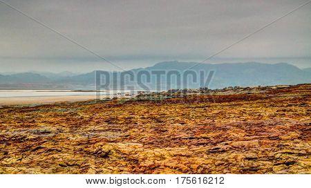 Salt texture inside Dallol volcanic crater in Danakil depression, Afar, Ethiopia