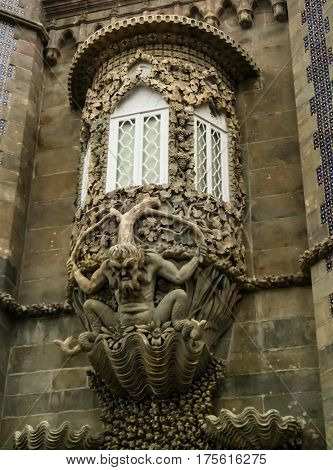 The depiction of a mythological triton in Pena palace in Sintra, Portugal