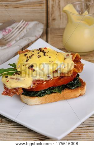Eggs Benedict with tomato slices of bacon spinach under hollandaise sauce on toast