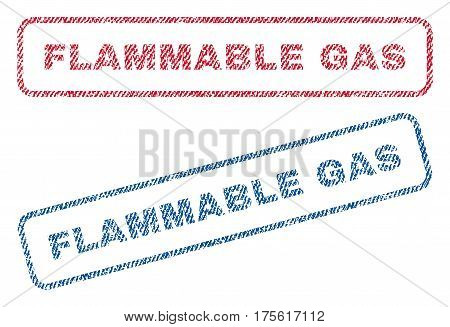Flammable Gas text textile seal stamp watermarks. Blue, red fabric vectorized texture. Vector caption inside rounded rectangular shape. Rubber sticker with fiber textile structure.