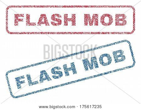 Flash Mob text textile seal stamp watermarks. Blue, red fabric vectorized texture. Vector caption inside rounded rectangular shape. Rubber emblem with fiber textile structure.