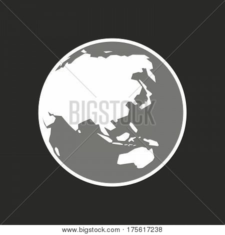 Isolated Vector Illustration Of  An Asia Pacific World Globe Map