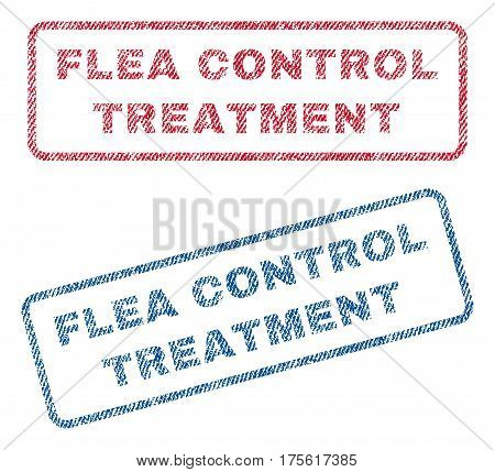 Flea Control Treatment text textile seal stamp watermarks. Blue, red fabric vectorized texture. Vector caption inside rounded rectangular banner. Rubber sticker with fiber textile structure.