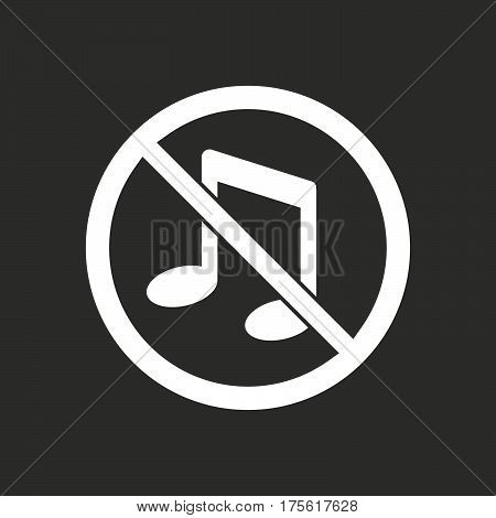 Isolated Vector Illustration Of  A Musical Note  In A Not Allowed Signal