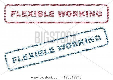 Flexible Working text textile seal stamp watermarks. Blue, red fabric vectorized texture. Vector tag inside rounded rectangular banner. Rubber sticker with fiber textile structure.