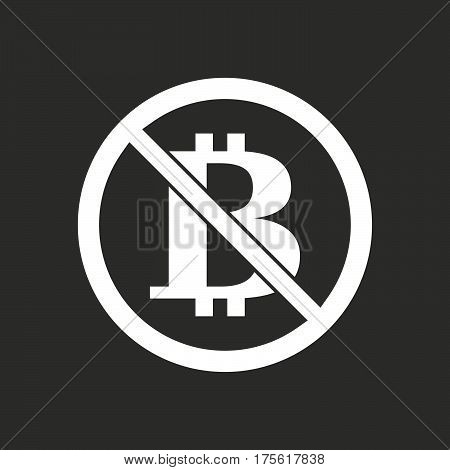 Isolated Vector Illustration Of  A Bitcoin Sign  In A Not Allowed Signal