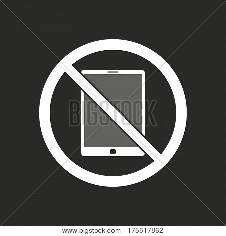 Isolated Vector Illustration Of  A Tablet Pc  In A Not Allowed Signal