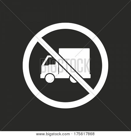 Isolated Vector Illustration Of  A Delivery Truck  In A Not Allowed Signal