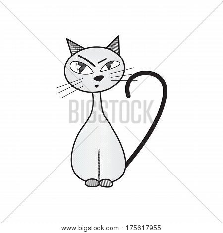 skeptical cat. handdrawn. isolated on white background. vector illustration.