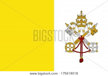 Flag of Vatican City officially Vatican City State is a walled enclave within the city of Rome. Vector illustration