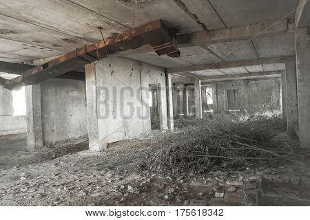 Destroyed industrial building, unfinished nuclear power plant in the Odessa region, Ukraine.