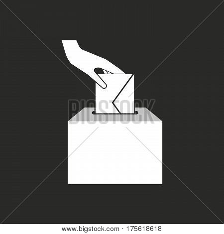 Isolated Vector Illustration Of  A Hand Inserting An Envelope In A Ballot Box