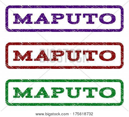 Maputo watermark stamp. Text tag inside rounded rectangle with grunge design style. Vector variants are indigo blue, red, green ink colors. Rubber seal stamp with scratched texture.