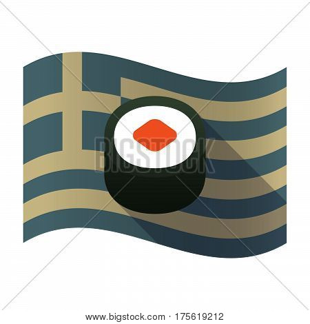 Long Shadow Greece Flag With A Piece Of Sushi Maki
