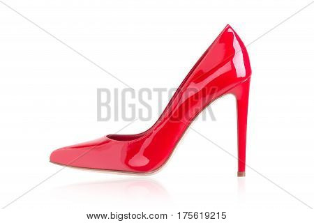 Red high heels on a white background