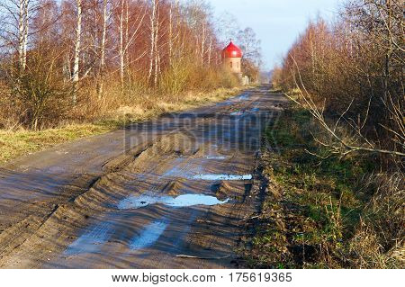 mud dirt offroad impassable travel countryside puddle rutted