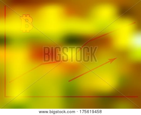 Vector illustration of the financial growth graph of digital bitcoin currency on a blurry red green gold background, technical trading concept.