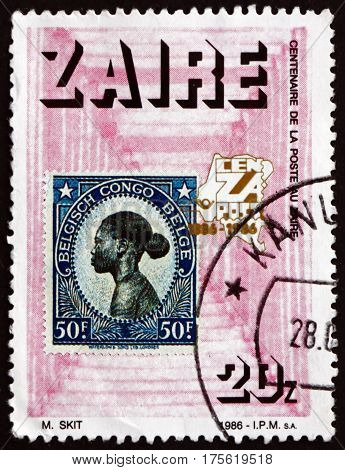 ZAIRE - CIRCA 1986: a stamp printed in the Zaire dedicated to postage stamps centenary circa 1986