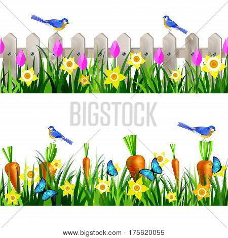 Green Grass and white wooden fance seamless isolated clip art vector on white with rose tulips and yellow daffodils and bluebirds carrots set