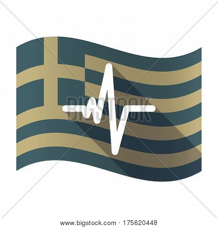 Long Shadow Greece Flag With A Heart Beat Sign