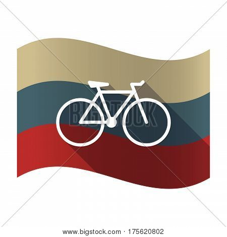 Long Shadow Russia Flag With A Bicycle