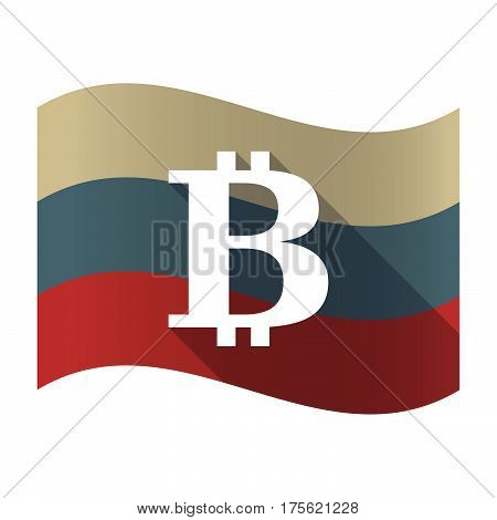 Long Shadow Russia Flag With A Bit Coin Sign
