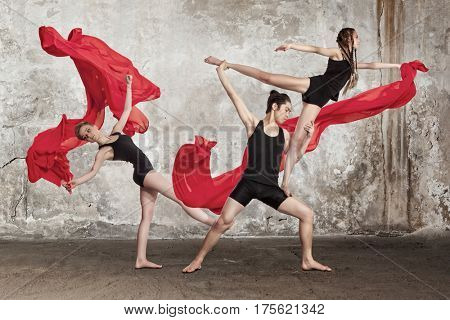 The group of modern ballet dancers - series of photos