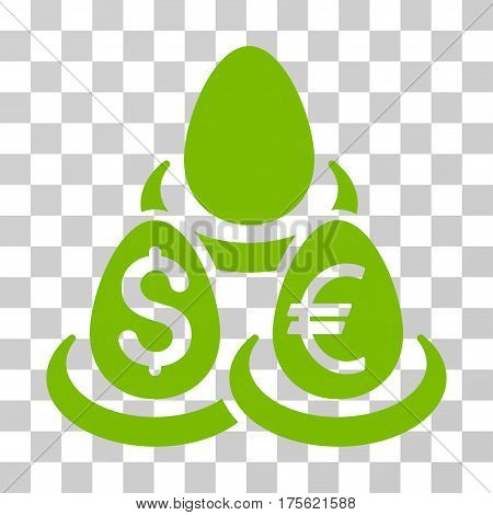 Currency Deposit Diversification icon. Vector illustration style is flat iconic symbol eco green color transparent background. Designed for web and software interfaces.