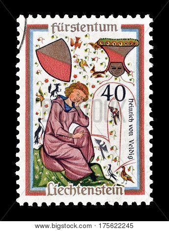 LIECHTENSTEIN - CIRCA 1962 : Cancelled postage stamp printed by Liechtenstein, that shows Heinrich of Veldig.