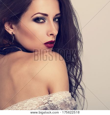 Beautiful Expressive Make-up Model Posing With Vinous Color Lipstick And Long Eye Lashes. Profile Vi
