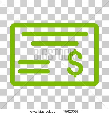 Dollar Cheque icon. Vector illustration style is flat iconic symbol eco green color transparent background. Designed for web and software interfaces.