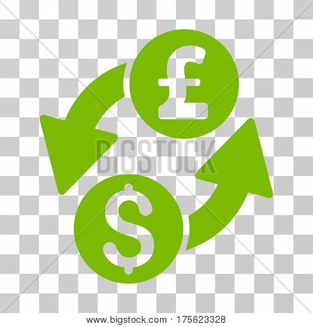 Dollar Pound Exchange icon. Vector illustration style is flat iconic symbol eco green color transparent background. Designed for web and software interfaces.