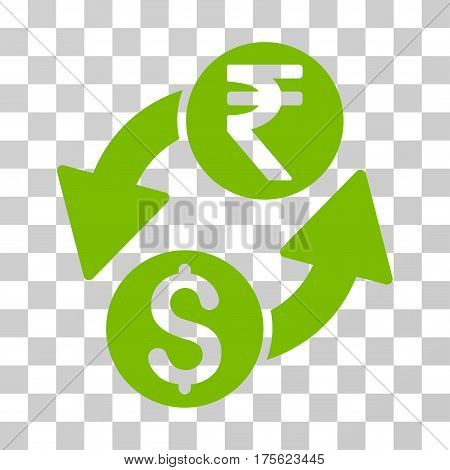 Dollar Rupee Exchange icon. Vector illustration style is flat iconic symbol eco green color transparent background. Designed for web and software interfaces.