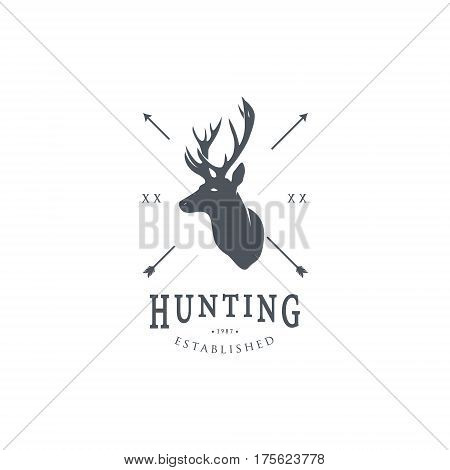 Hunting Logo Template. Deer Head and Horns Silhouette Isolated On White Background. Vector object for Labels Badges Logos and other Design.