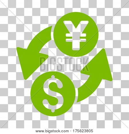 Dollar Yen Exchange icon. Vector illustration style is flat iconic symbol eco green color transparent background. Designed for web and software interfaces.