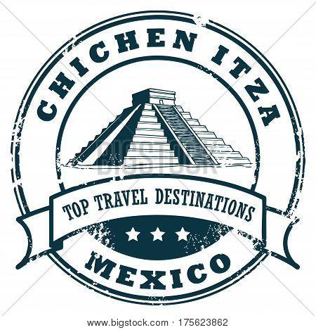 Grunge rubber stamp with the Chichen Itza