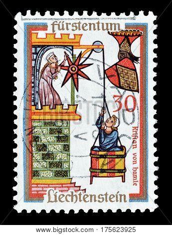 LIECHTENSTEIN - CIRCA 1963 : Cancelled postage stamp printed by Liechtenstein, that shows  Kristan of Hamle.