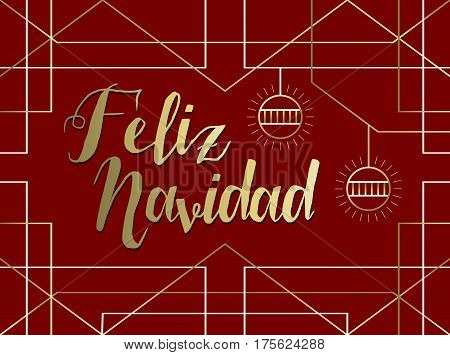 Christmas Gold Art Deco Line Spanish Feliz Navidad