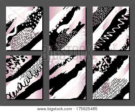 Set of creative universal cards and background with hand drawn textures. Pink metallic, black, white colors.Use them for banner, poster, card, invitation, placard, brochure, flyer.