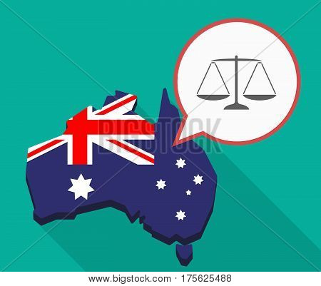 Long Shadow Map Of Australia With A Justice Weight Scale Sign