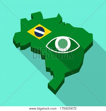 Long Shadow Map Of Brazil With An Eye