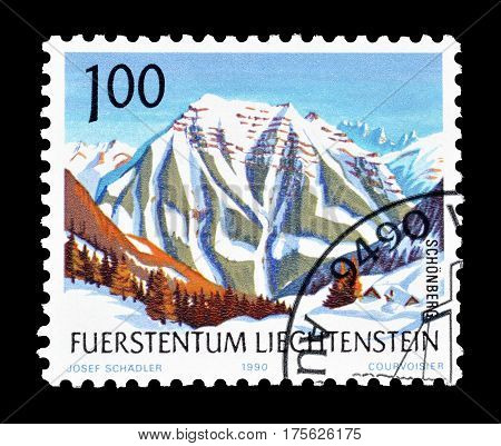 LIECHTENSTEIN - CIRCA 1990 : Cancelled postage stamp printed by Liechtenstein, that shows  Mountains.